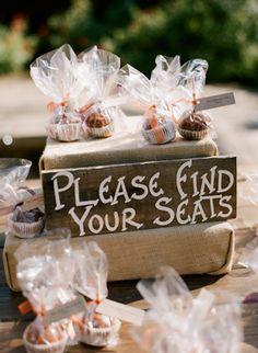 cupcake favors escort cards events weddings rustic burlap
