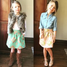 The Simone Skirt in turquoise and blush in sizes 2-6.  Made in the USA! Mimi and Mack mimiandmackclothing.com