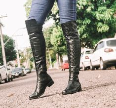 fa6a3fdf29 Bota Over The Knee Python Pussycat Preto - Cavage