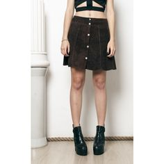 Pop Sick Vintage 70s Vintage Suede Real Leather Bell Skirt ($28) ❤ liked on Polyvore featuring skirts, mini skirts, brown, brown mini skirt, short skirts, suede skirt, brown skirt and brown leather skirts