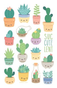 pots just sitting there happy waiting for a new home on your wall! mini print, printed on heavy Smooth Satin Cover Stock. All mini prints are shipped in a sturdy bubble mailer and protected in a plastic sleeve. Journal Stickers, Planner Stickers, Kawaii Drawings, Easy Drawings, Cactus Drawing, Succulents Drawing, Aesthetic Stickers, Cute Stickers, Free Printable Stickers