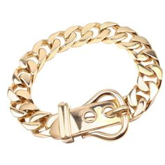Hermes Gold Curb Link Chain Large Buckle Bracelet | From a unique collection of vintage link bracelets at https://www.1stdibs.com/jewelry/bracelets/link-bracelets/