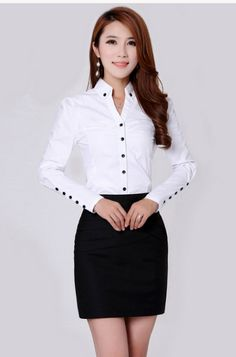 shirt running on sale at reasonable prices, buy TLZC Elegant Women Career White Shirts Size Long Sleeve Button Design Clothing 2018 Office Classic Lady Casual Blouses from mobile site on Aliexpress Now! White Shirts Women, Blouses For Women, Ladies Shirts Formal, Formal Blouses, Mode Outfits, Fashion Outfits, Emo Fashion, Minimalist Fashion Women, Elegant Woman