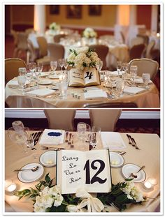 Books as table numbers! ...there were references to books throughout this wedding, like the bookmark escort cards.