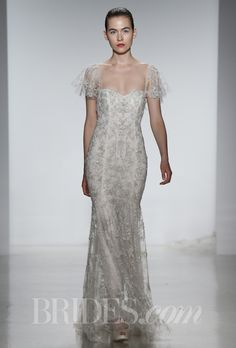 """Brides: Kenneth Pool - Spring 2014. """"Giselle"""" tulle hand beaded sheath wedding dress with sweetheart neckline and flutter sleeves, Kenneth Pool"""