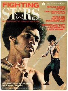 Jim Kelly on the cover of Fighting Stars magazine in 1975.