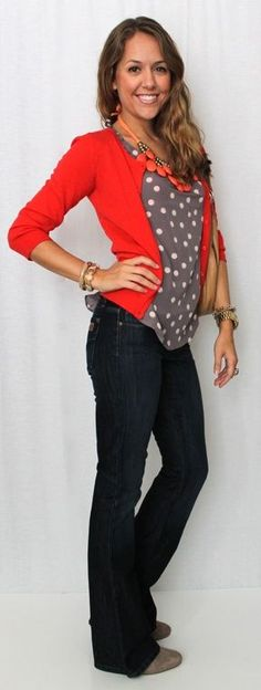 Such a cute outfit- love the color combination and that the sweater breaks up the polka dots