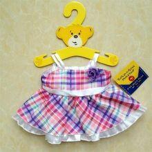 Free Shipping! Build A Bear plush toy teddy bear Duffy checkered dress clothes(China (Mainland))