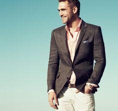 J.Crew Linen herringbone sportcoat in Ludlow fit and Secret Wash lightweight shirt in pinpoint stripe