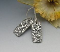 """PMC** Fine Silver REPOUSSE tabs made from a mold of my grandmother's sterling flatware pattern (so sentimental to me). Fine silver has been patined for a vintage look and to emphasize the intricate detail of the pattern.    Almost 1 1/2"""" in total length from the top of the handcrafted argentium sterling earwires."""