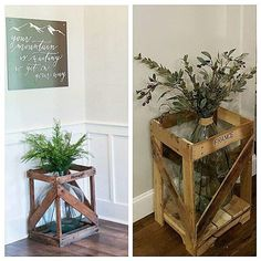 Farmhouse Design, Rustic Farmhouse, Wine Jug Crafts, Gaines Fixer Upper, Chip Gaines, Crafty Craft, Pallet Ideas, Crates, Entryway Tables