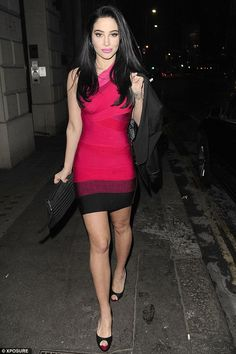 Tulisa Contostavlos shows off her slim figure in tight bandage dress in London | Daily Mail Online