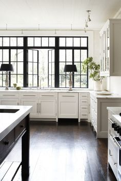 Iron Windows // Carter Kay Interiors // Atlanta, Georgia Trim For Windows, White Window Trim, Sunroom Windows, Metal Windows, Square Windows, Custom Windows, Black Windows, Windows And Doors, Big Windows