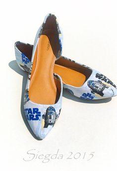 R2D2-Star Wars-Blue Women\'s flats-Custom Heels-Geek-Wedding shoes-Gift for her-Comic Con-Cosplay-Personalized Heels-
