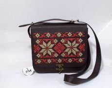Tolba mare din piele naturala cusuta cu motiv popular original Leather Bags Handmade, Lunch Box, Traditional, Bento Box