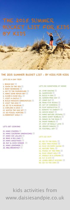 2015 summer bucket list for kids by kids, kids summer bucket list, things to do with kids during summer, kids summer activities, kids activities from daisies and pie