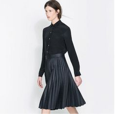 Graceful fashion wrinkle decoration pure color pretty skirts HY-132455122