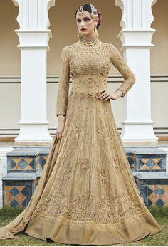 Beige Net #Anarkali #Suit #nikvik  #usa #designer #australia #canada #freeshipping #dress