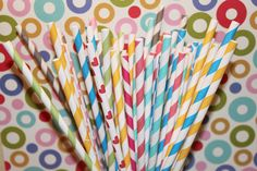 50 LONG ORANGE Striped 10 1/2 Inches Paper Straws for Tall Soda Bottles with CUSTOM flags by Lola- Wedding, Party, Beverage Bar, Made In Usa. $10.00, via Etsy.