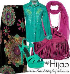 Black printed skirt, turquoise button up shirt, turquoise heels, pink scarf