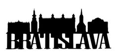 Bratislava Scrapbooking Laser Cut Title with Skyline Scrapbook Titles, Scrapbooking, Bratislava, Vintage Travel Posters, Laser Cutting, Outline, Tattoo, World, Image