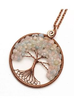 Morganite Tree-Of-Life Pendant Necklace Boho Jewelry Family Tree Wire Wrapped Jewelry Gift For Girlfriend Gift For Wife Gift For Sister Gift - DIY Jewelry Crafts Ideen Wire Wrapped Jewelry, Wire Jewelry, Boho Jewelry, Jewelry Gifts, Beaded Jewelry, Silver Jewelry, Jewellery, Tree Of Life Jewelry, Tree Of Life Pendant