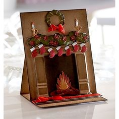 Best 12 Diana Clews – Pop-out Fireplace – Christmas Create-a-Card die: Fireside – Kraft cardstock – Timeless double sided card – Textures embossing folder: dry stone wall – Die'sire dies: Ivy, Poinsettia, Robin & Foliage – – SkillOfKing. Christmas Paper Crafts, Homemade Christmas Cards, Christmas Cards To Make, Xmas Cards, Christmas Projects, Homemade Cards, Handmade Christmas, Christmas Diy, Holiday
