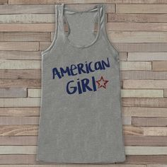 Patriotic American Girl Tank - Women's 4th of July Tank - Grey Flowy Tank - Country Fourth of July Shirt - 4th of July USA Pride