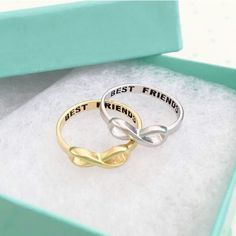 Sterling silver BEST FRIENDS engraved with black ink Yellow Gold plated over sterling silver One size US 6 (Best Gifts Bff) Best Friend Rings, Best Friend Jewelry, Bff Rings, Cute Rings, Argent Sterling, Sterling Silver Rings, Best Friend Outfits, Friendship Jewelry, Friend Necklaces