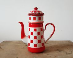 French enamelware vintage pitcher