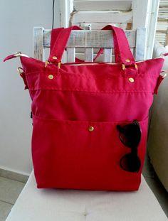 €43.75 Modern bag.Shoulder bag.By Lara Klass.Canvas bag.Fashion bag.Popular bag.Red color.Diaper bag.Messenger bag.Eco bag.Handmade bag.Zipped.