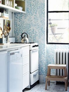 This wallpaper would be awesome for a half bathroom (Michael Penney's kitchen from House & Home)