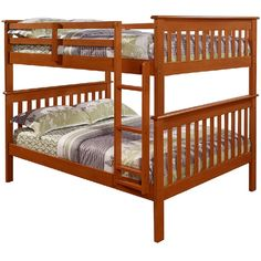 Solid Pine Mission Full over Full Bunk Bed with Fixed Ladder in Espresso Finish