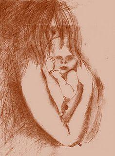 16 december 2011: Slaaplied - liefdeslied. Tekening: Gonneke van Veldhuizen-Staas ''Moeder en kind''
