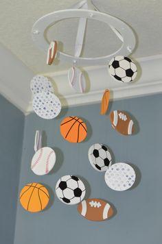 Sports Nursery Mobile Wooden - Soccer Baseball Basketball Football Golf Athlete Nursery Decor Boy Girl Decor - Kids Sports Baby Shower Gift