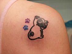 A pug tattoo. I do love pugs. Pretty Tattoos, Love Tattoos, Picture Tattoos, Body Art Tattoos, Tatoos, Awesome Tattoos, Unique Tattoos, Pug Tattoo, Tattoo Foto
