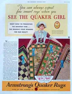 1934 Armstrong Quaker Rug Print Ad