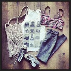 Brandy melvile outfit-white tank,floral bralette top,grey jeggins,brown converse,cream fringe bag.