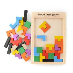 Wood Intelligence: Colorful Wooden Tangram Brain Teaser Puzzle