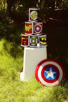 Shield Throwing Station- super hero training camp.  This entire pin has great games that would be easy to put together.  Super hero training!