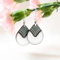Ethnic earrings Ceramic earrings Clay dangle earrings Unique gifts for women gifts for her Boho earrings sterling silver Oriental jewelry Zu