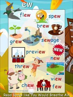 ew Words - FREE Printable Word Ending Poster - Great for Word Walls Phonics Chart, Phonics Flashcards, Phonics Blends, Phonics Words, Kids English, English Lessons, Learn English, Phonics Reading, Teaching Phonics