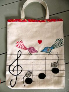 Knotted Cotton: Applique Music Bag 2