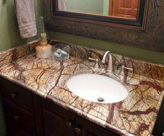 Rainforest Brown granite bathroom vanity | Park City, UT | Accent Interiors