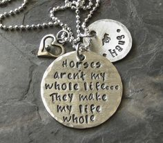 Sterling Silver Hand Stamped Horse Quote by EquineExpressionsbyD