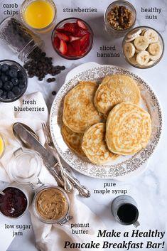 to Make a Healthy Pancake Bar for Breakfast How to Make a Healthy Pancake Breakfast Bar Breakfast Bar Food, Birthday Breakfast, Clean Eating Breakfast, Breakfast Pancakes, Best Breakfast, Breakfast Recipes, Pancake Recipes, Breakfast Healthy, Breakfast Ideas