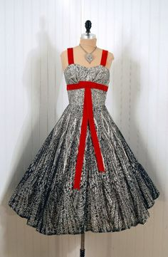 1950's Vintage Black and White Atomic Floral-Lace Illusion Designer-Couture Shelf-Bust Plunge Red-Velvet Bow Rockabilly Nipped-Waist Princess Ballerina-Cupcake Bombshell Full Circle-Skirt Wedding Formal Evening Prom Party Cocktail Dress