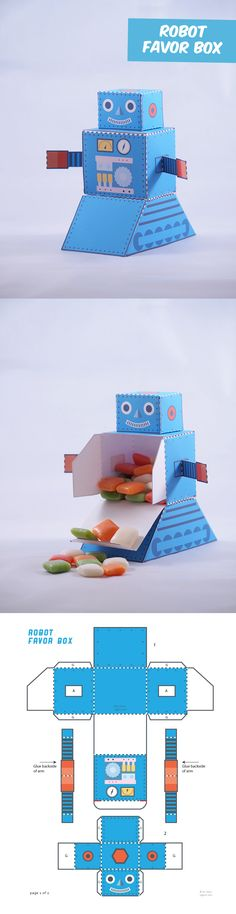 Create your own old school Robot favor box. I definitely need this!  Lol
