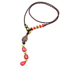 Chinese Handmade Red Turquoise Long String Necklace Jewelry