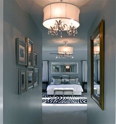 For Heather - Love the 40's glam in this room - silvery blue is gorgeous!!!!